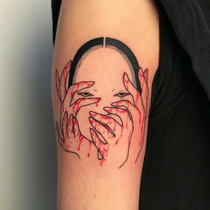 tatuaje en el brazo super original, diseños de tatuajes de geishas en fotos, diseños de tattoos unicos, tattoos inspirados en la cultura japonesa