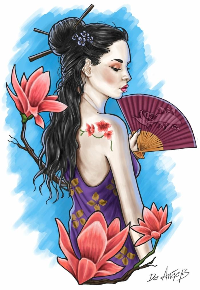 diseños unicos de tatuajes de geishas, tatuajes inspirados en la cultura japonesa, tatuaje mujer con abanico, diseños de tattoos unicos