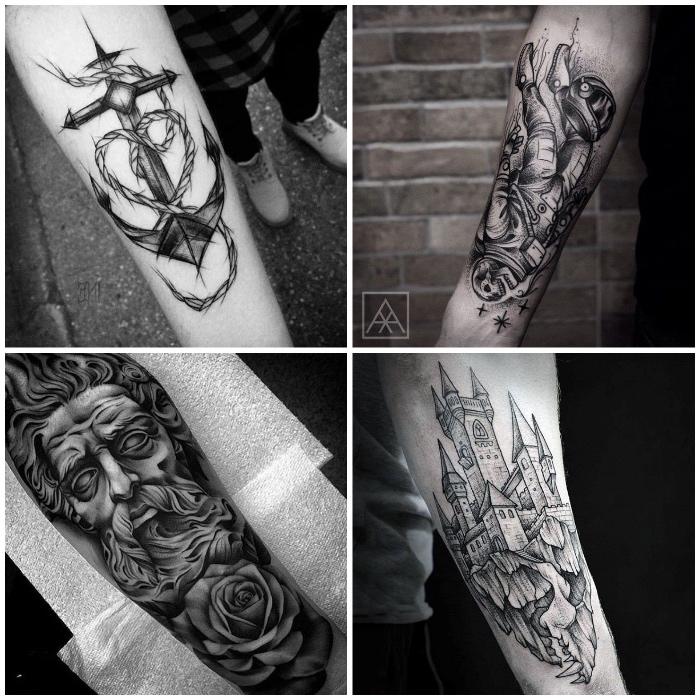 cuatro diseños originales y bonitos en el antebrazo, diseños simbolicos en estilo realista, tatuajes antebrazo originales