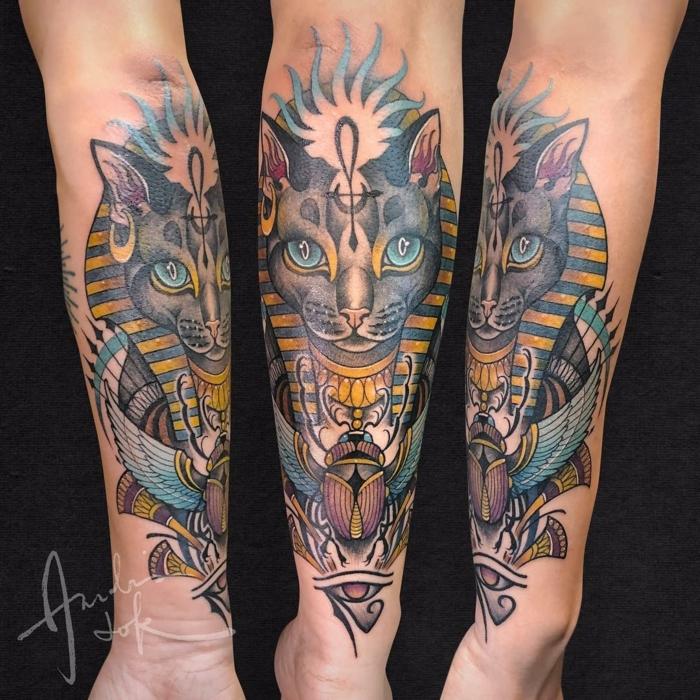 magníficas ideas de tatuajes en el antebrazo, simbolos egipcios originales y bonitos, significado de los tatuajes egipcios