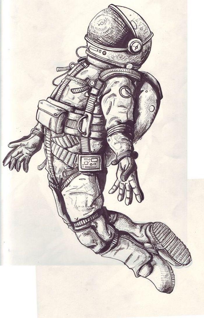 interesantes dibujos tattoo para hombres y mujeres, tatuaje astronauta original, diseños de tatuajes originales y simbólicos