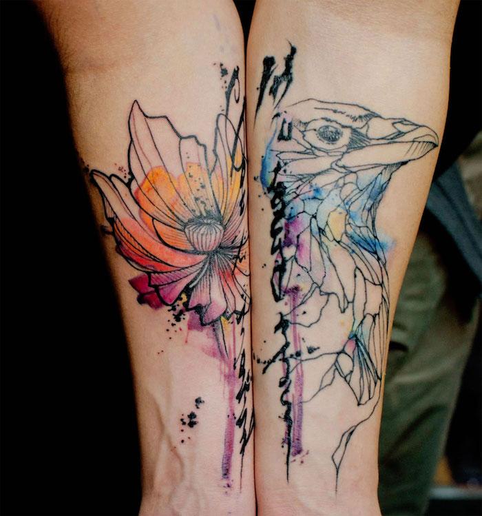 dos tatuajes abstractos en el antebrazo, tatuajes antebrazo en acuarela, los mejores diseños de tattoos, diseños de tatuajes acuarela