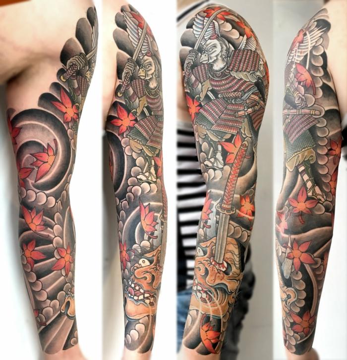 tattoo japones en el brazo entero, tatuajes originales en el brazo, tatuajes simbolicos japoneses con flores, tatuajes para hombres