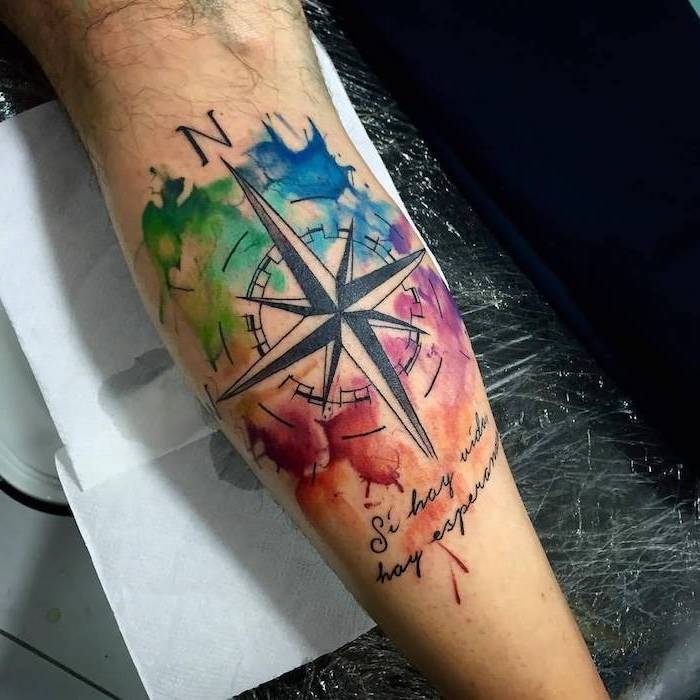 tatuajes para hombres en el brazo en acuarelas, tatuajes con letras, diseños de tatuajes en acuarela, diseños de tatuajes con manchas de colores