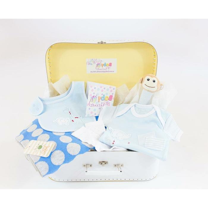 las mejores propuestas de canastillas para bebes, maletas llenas de regalos temáticos, prendas color azul claro y peluches