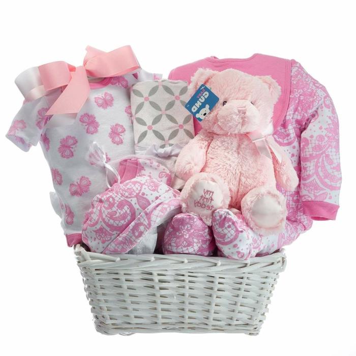 regalos utiles para bebes y super originales, regalo bebé niña cesta de bonitos regalos en rosado y blanco, regalos temáticos bebé niña