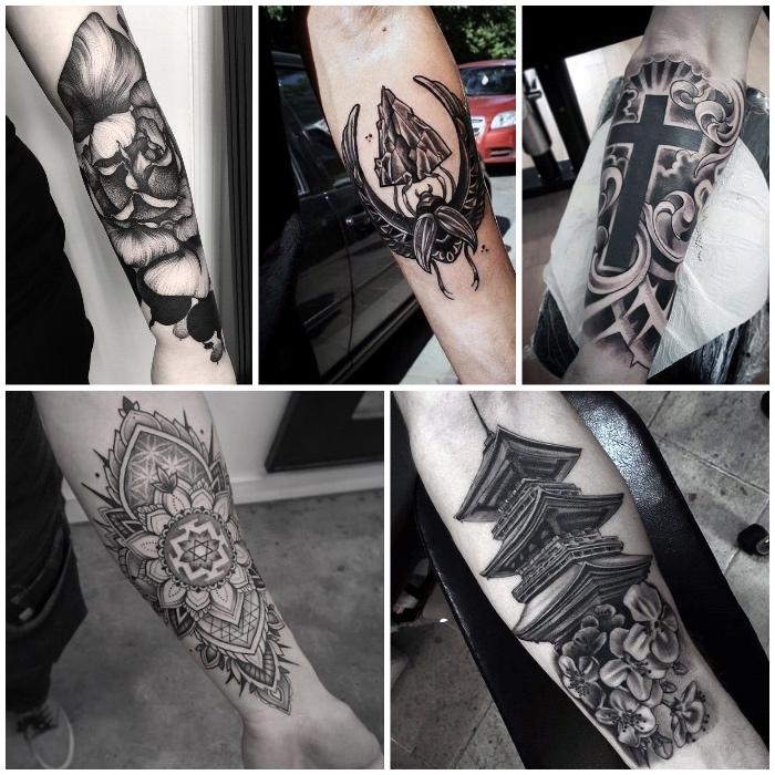 5 diseños originales en el antebrazo, tatuajes para hombres en el brazo super atractivos en tinta negra, diseños de tatuajes grandes