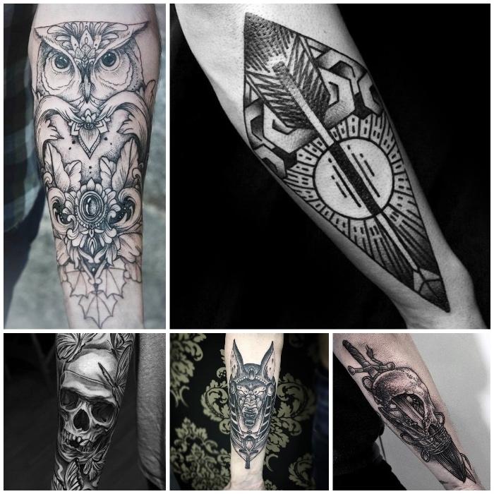 los mejores diseños de tatuajes para hombres en el brazo, tatuajes con elementos geométricos, símbolos old school