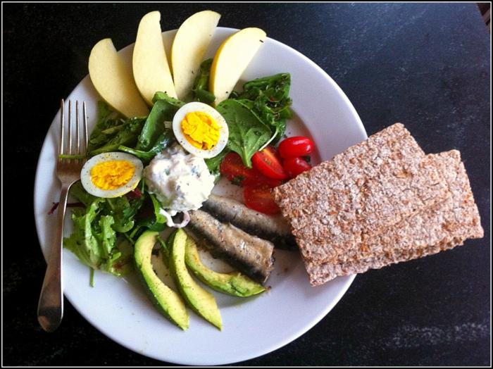 menus para adelgazar paso a paso, desayuno nutritivo con aguacate, huevos cocidos, ensalada verde, frutas