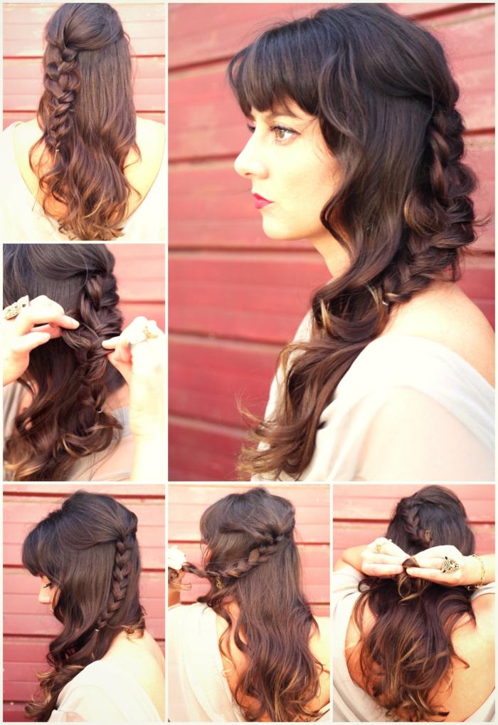 semirecogidos con trenzas bonitos, como hacer peinados medievales originales paso a paso, peinados de novia en estilo boho chic