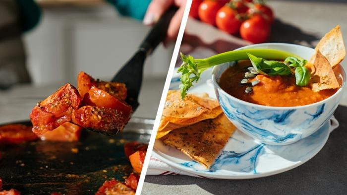 receta de sopa de tomate casera para hacer en 30 minutoс, tomates con orégano al horno para hacer una sopa rica y cremosa