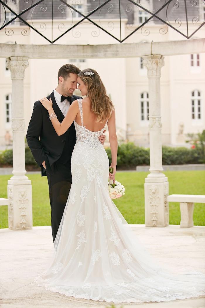 precioso vestido de corte sirena con aplicaciones de encaje, trajes de novia 2019, bonitos y románticos diseños en 80 fotos