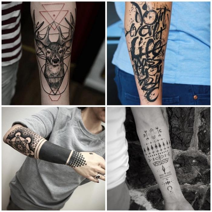 cuatro diseños simbólicos de tattoos en el antebrazo, diseños de tatuajes super atractivos, diseños con símbolos unicos