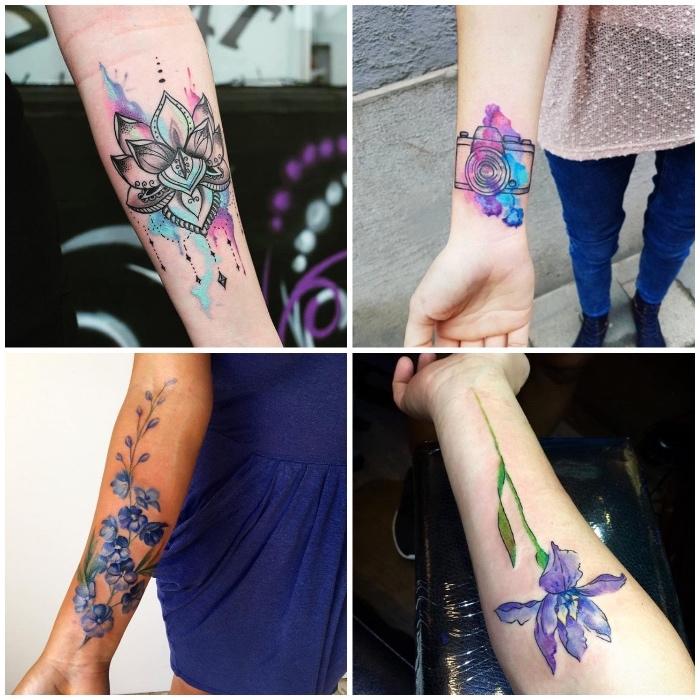 cuatro diseños de tatuajes en el antebrazo, diseños de tattoos en acuarela mujer originales, diseños en colores azul y lila