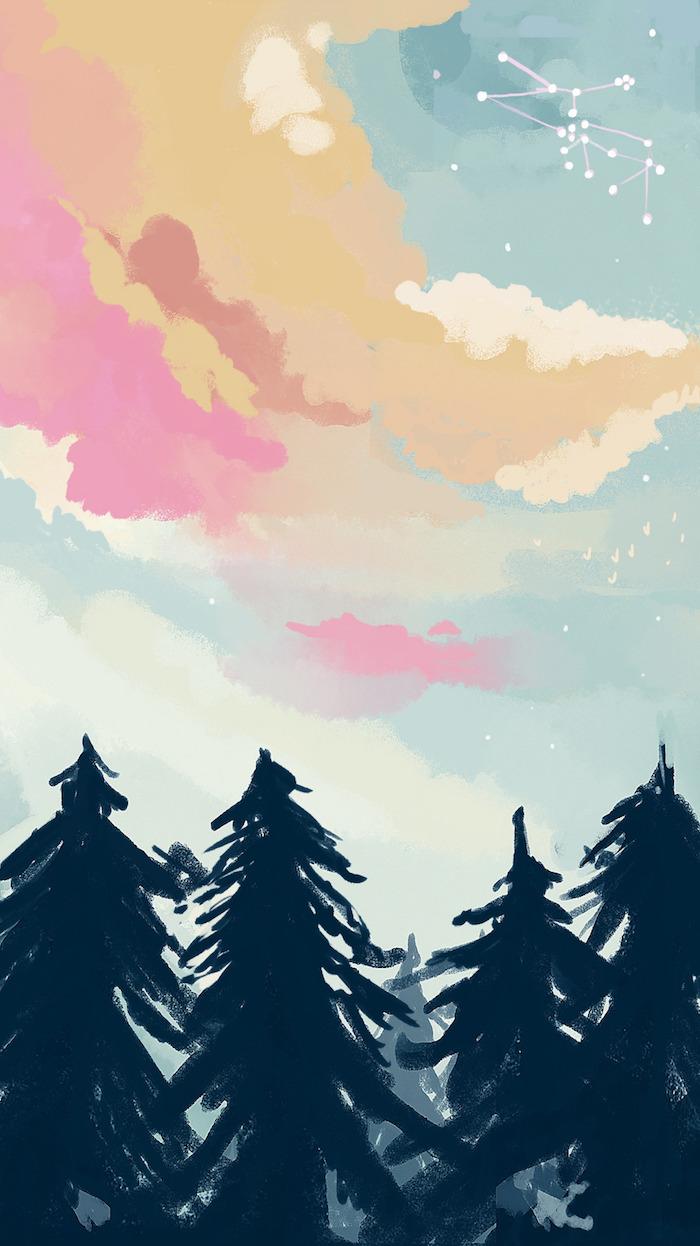 los mejores dibujos de fondo pantalla, más de 138 propuestas gratis, dibujos de paisajes de naturaleza, cielo con nubes en color rosado