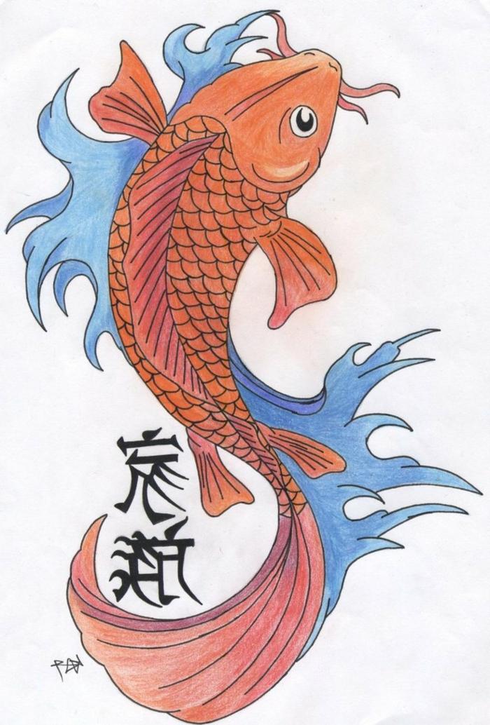 tatuaje tradicional japonés, ejemplos de tatuajes con significado, tatuajes pez Koi, cuáles son los elementos más simbólicos en los tattoos japoneses