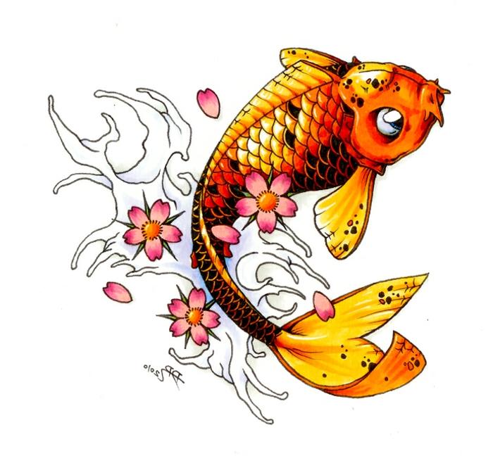 diseños de tatuajes con el pez Koi, tatuajes coloridos únicos, imagines de tatuajes con significado para hombres y mujeres