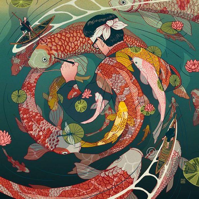 dibujos tattoo simbolicos, las mejores propuestas de tatuajes japoneses, tatuaje pintor, el pez Koi, simbologia de los tattoos