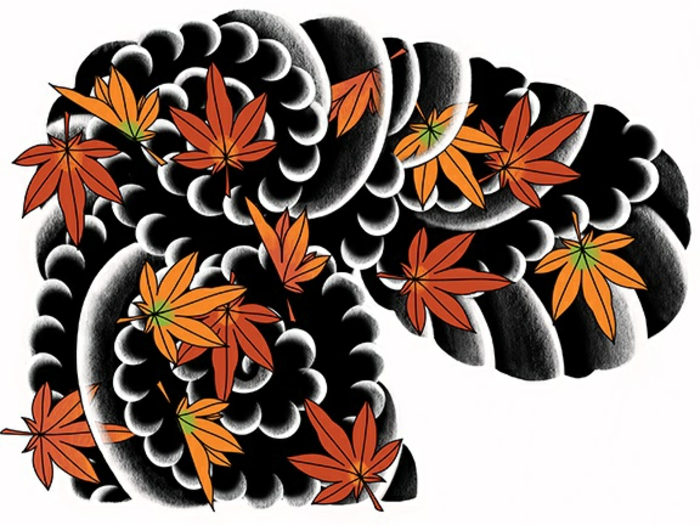 bonitas ideas de tattoos japoneses, tatuajes bonitos con fuerte significado, tatuajes hojas caídas, diseños de tatuajes