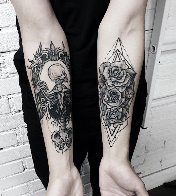 cuáles son los mejores diseños de tatuajes en el antebrazo, tatuajes antebrazo hombre en estilo old school, tatuajes vintage fotos
