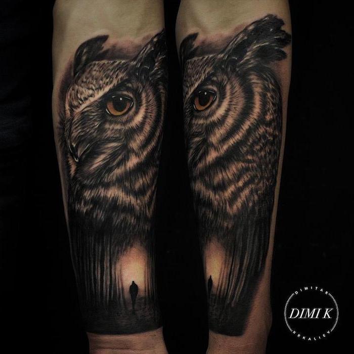 tatuajes hipperrealistas con búhos, diseños de tatuajes de animales con fuerte significado, tattoos simbolicos tinta negra
