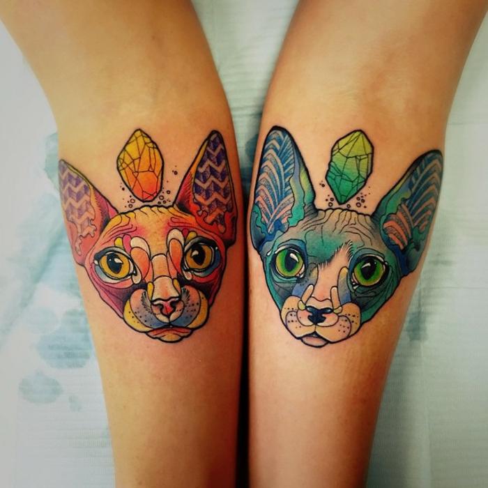 antebrazo tatuado, tattoos coloridos inspirados en el antebrazo, tatuajes con significado modernos, imagines de tatuajes de gatos