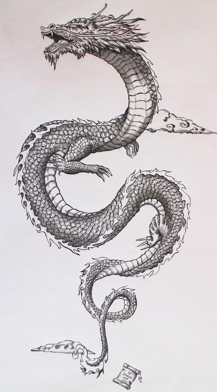 cuál es el significado escondido del tatuajes con dragón, dibujos para tatuajes bonitos y originales, diseños de tattoos