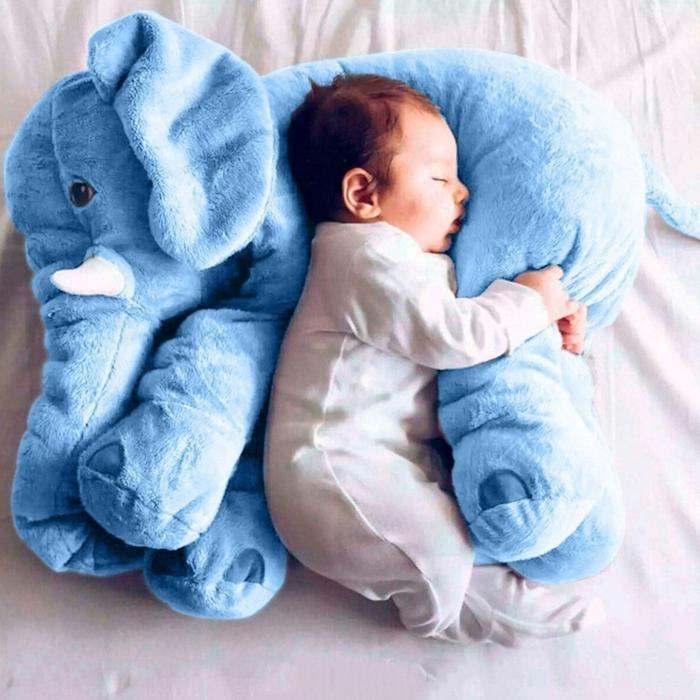 grande peluche elefante color azul para regalar a un recién nacido, regalos para bebes recien nacidos bonitos y útiles