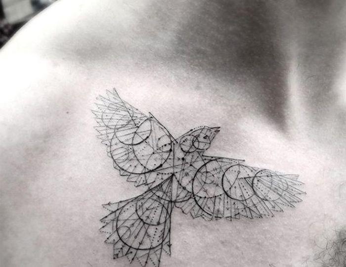 precioso diseños de tatuajes geométricos, aguila en plano vuelo, tattoos originales que inspiran, más de 65 propuestas de diseños