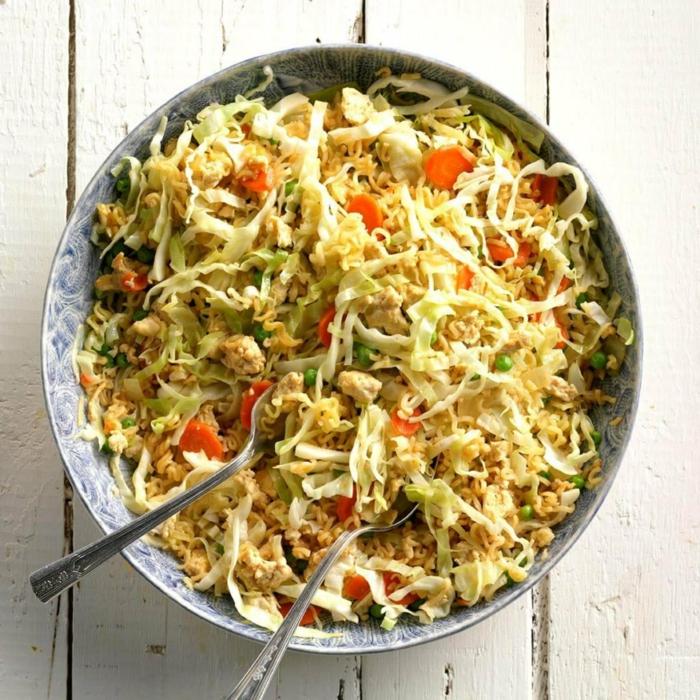 ricas ensaladas con col y pollo, menus de dietas originales y bajos en calorias, platos para perder peso con pollo y pescado
