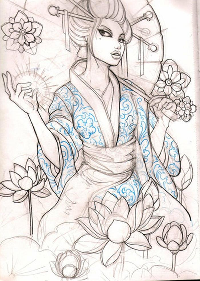 dibujos de tatuajes de geishas, diseños de tatuajes orientales únicos, magníficas ideas de tatuajes femeninos asiáticos