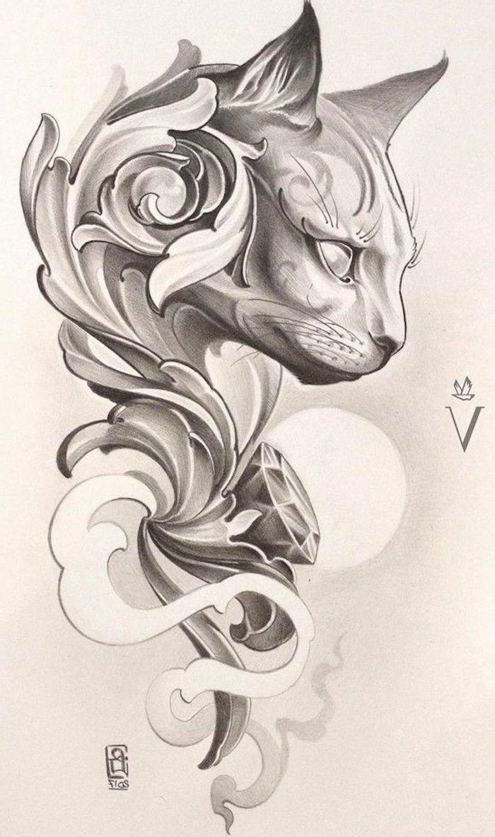 fotos con diseños de tatuajes egipcios, tatuajes dibujos originales con fuerte significado, tatuajes de gatos en bonitas imagines
