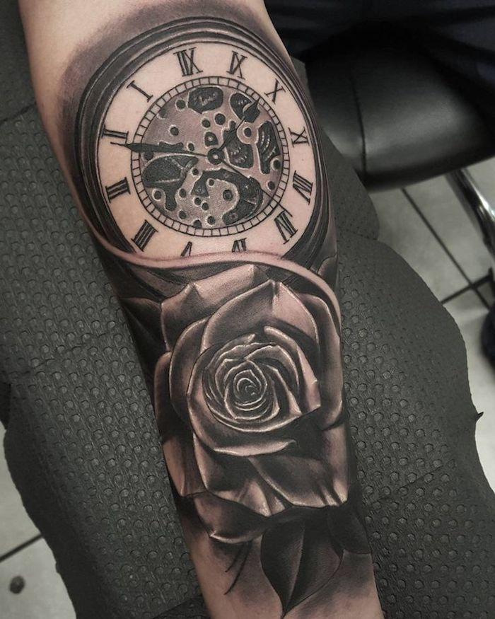 tatuaje rosa reloj, diseños de tatuajes simbólicos bonitos, tatuaje en el antebrazo con significado, 100 imagines de diseños únicos