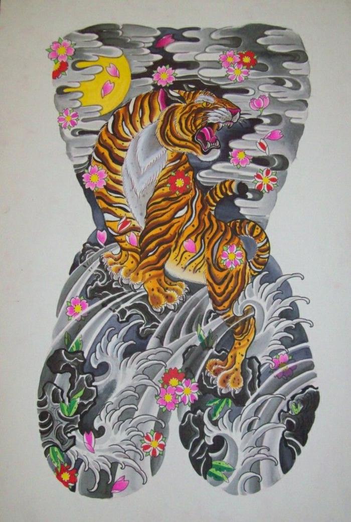 cómo son los tatuajes tradicionales japoneses, dibujos de tatuajes con motivos japoneses, tatuajes de dragones y tigres