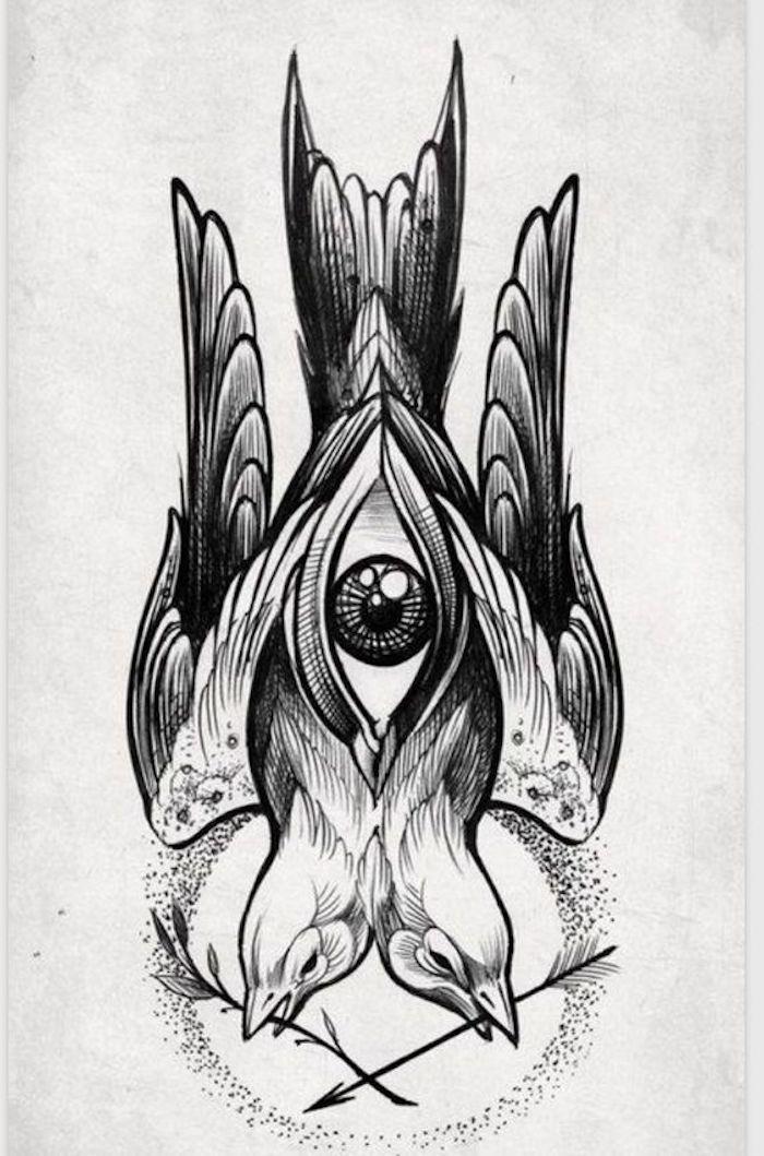 geniales diseños de tattoos, dibujos de tatuajes bonitos y originales, dos aves ojo, tatuajes simbólicos surrealistas