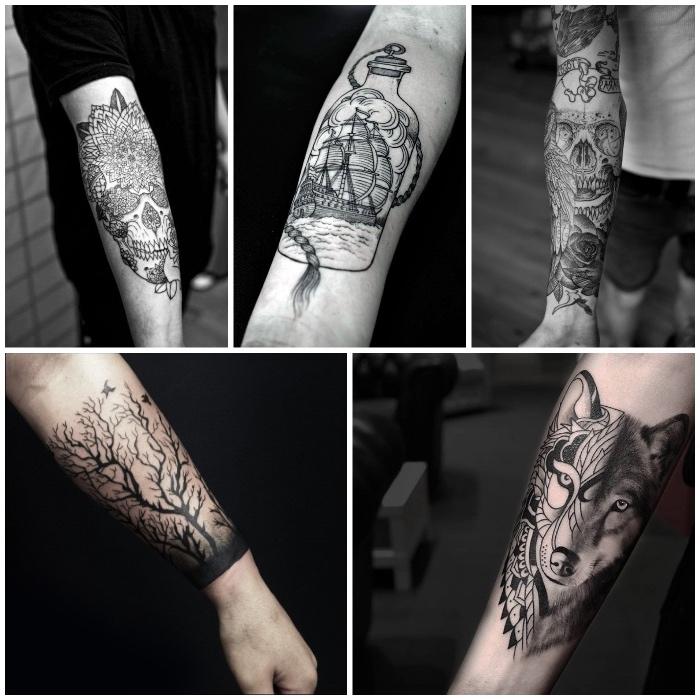 galería de imagines de tatuajes, cincno diseños de tatuajes para hombres, animales, calaveras, motivos florales