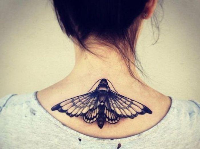 fotos de tatuajes en la nuca simbólicos, los mejores diseños de tattoos en 70 imagines, grande mariposa tatuada en la nuca