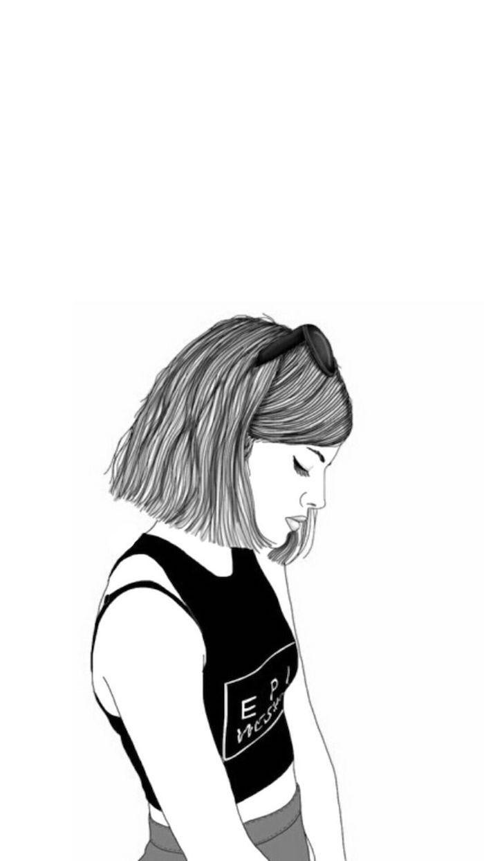 dibujo para fondo en estilo tumblr, las mejores propuestas de imagines para descargar para cada gusto, dibujo mujer