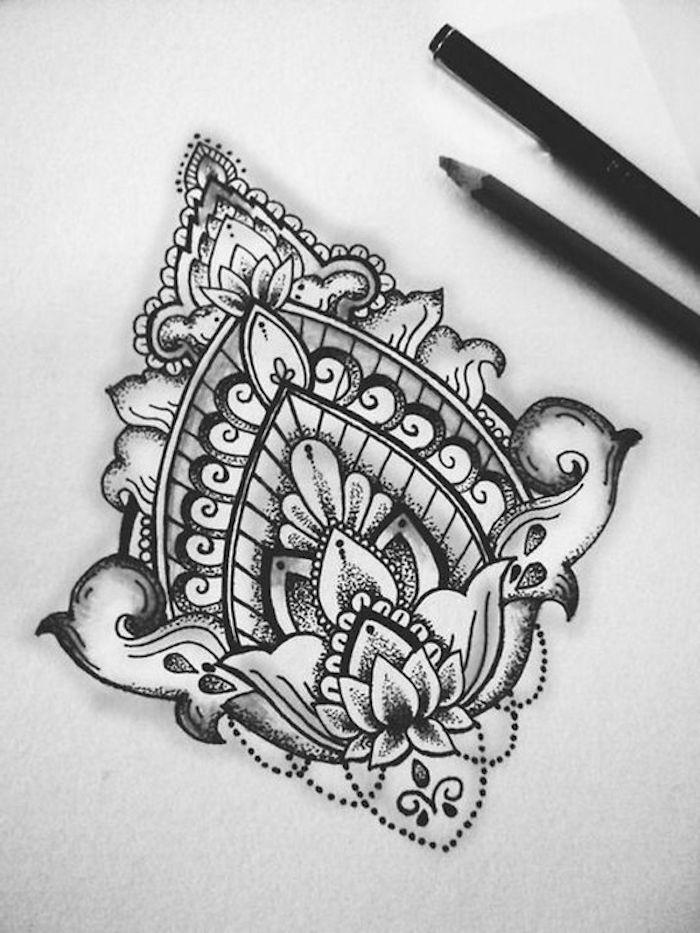tatuajes con simbolos y ornamentos, dibujos para tatuajes bonitos, galería de fotos con motivos para tatuajes que inspiran