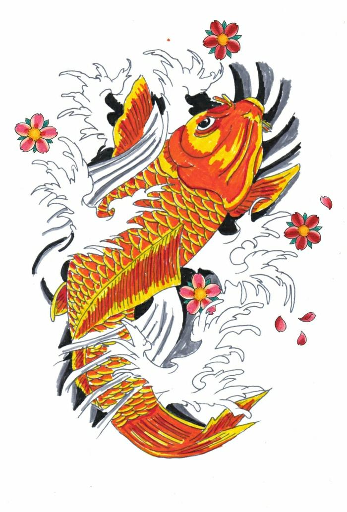 dibujos para tatuajes originales, diseños simbólicos cargados de fuerte significado, tatuaje pez koi significado y diseños