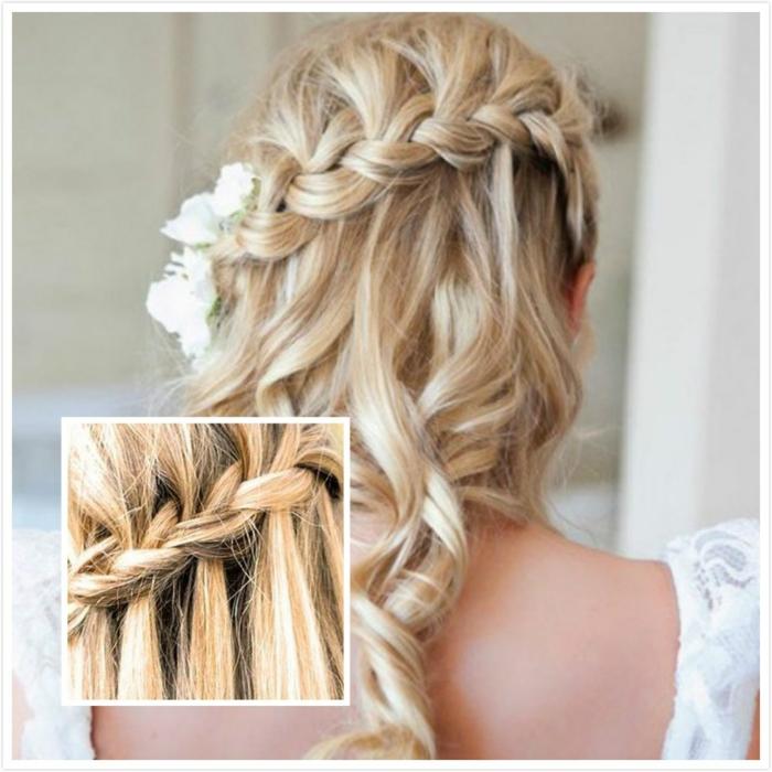 cómo hacer trenzas francesas laterales, bonitas ideas de peinados de novia media melena y pelo largo, peinados con trenzas