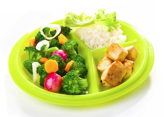 ideas para una alimentacion saludable, plato con pollo, arroz blanco y vegetales a vapor, recetas saludables para mantener tu figura