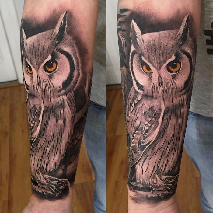 más de 100 ideas de tatuajes en el antebrazo entero. tatuajes de búho bonitos con significado, tatuajes que significan sabiduría