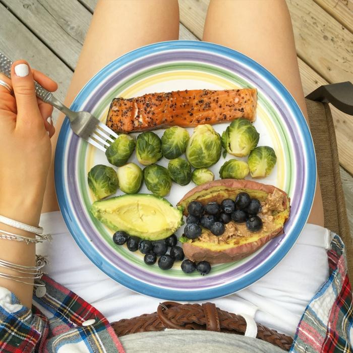 ideas de comidas para una dieta para bajar de peso, salmón a la parrilla, col de bruselas, papas cocidas, arándanos y aguacate