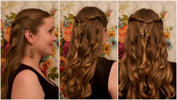 originales propuestas de recogidos pelo largo, semirecogido trenzado bonito y original, los mejores peinados con trenzas