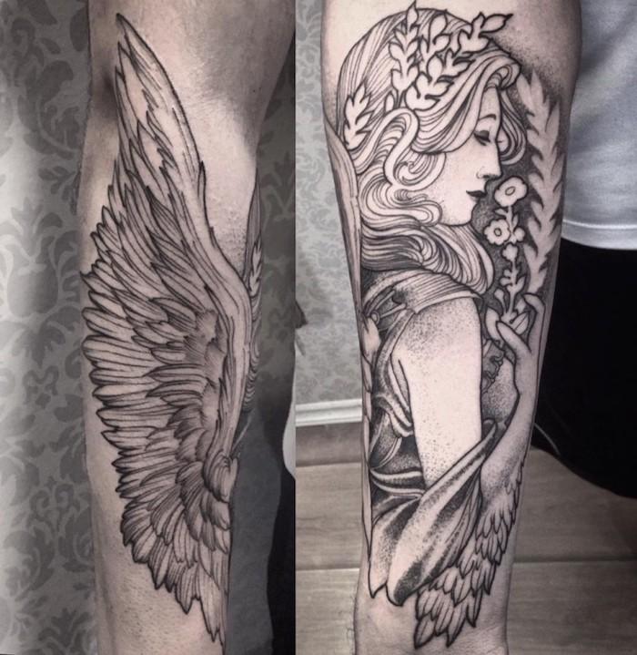 tatuajes inspirados en la mitologia, dos tatuajes en el antebrazo simbolicos, tatuajes antebrazo hombre, precioso tatuajes en los antebrazos