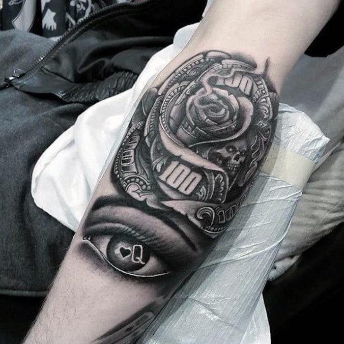 tatuajes antebrazo hombre super originales, tatuajes con calaveras y rosas bonitos, los mejores diseños de tatuajes old school