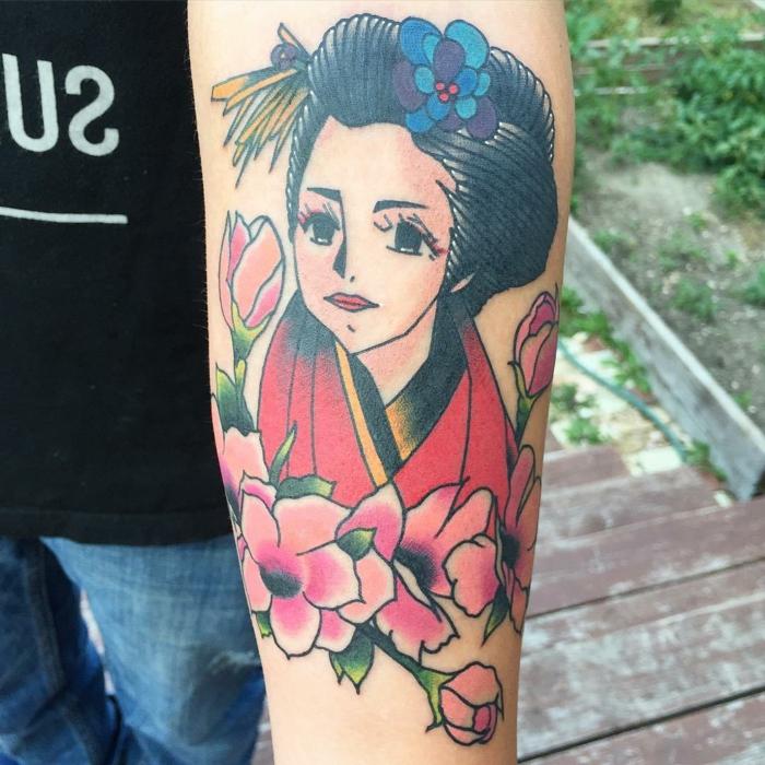 tattoos bonitos inspirados en los animes japoneses, diseños de tatuajes úncios, tattoos coloridos en el antebrazo