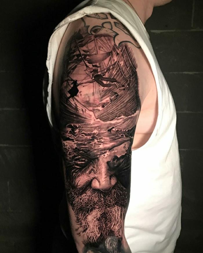 tatuajes antebrazo hombre, brazo entero tatuado, tatuajes realistas originales, los mejores diseños de tatuajes para hombre