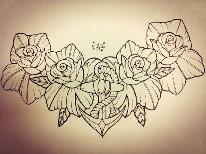 preciosos dibujos para tatuajes con motivos florales, los significados de los diferentes tatuajes con flores, tatuaje de rosa